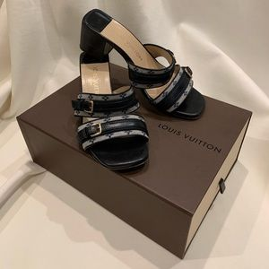 Authentic Louis Vuitton Mini Monogram mule shoes.